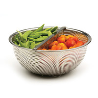 Duo Section Colander with Detachable Divider | kitchen gadgets, veggie wash