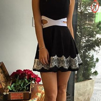 Casual Cut Out Waist Lace Embroidered Edge Mini Skater Dress
