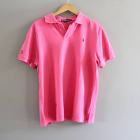 Ralph Lauren Polo Shirt Pink Cotton Knit Classic Polo Button Up Short Sleeve Tee Minimalist Vintage 90s Size Women's XL #T179A