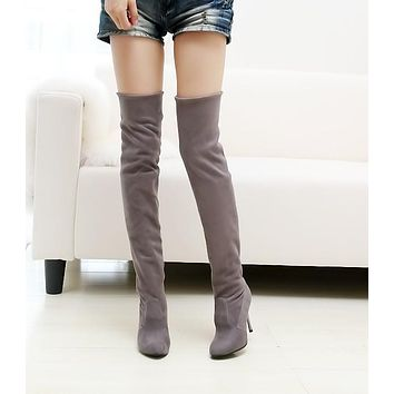 Pointed Toe Velvet High Heels Over the Knee Boots for Women 1196