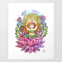 Yoga Flower Girl Art Print by PranaTheory & YogaTales