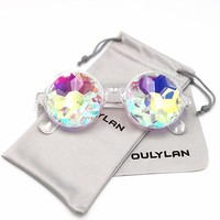 Round Kaleidoscope Glasses Rainbow Prism Sunglasses for Women Men OULYLAN Party Rave Festival Glasses with Grey Sun Glasses Cloth Bag