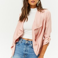 Draped Open-Front Blazer