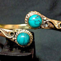 turquoise Armlet, arm cuff, upper arm cuff, brass armlet,  armlet bracelet,  tribal armlet,  gypsy armlet, body jewellry, indian armlet
