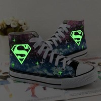 Galaxy Shoes Hand Painted Shoes superman canvas shoes sneakers high top shoes = 194686
