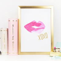 MAKEUP Print,Rose Lips,Xoxo,Gossip Girl,Makeup Poster,Bathroom Wall Art,Gift Idea,Gift For Her,Digital Print,Fashionista,Fashion Print