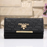 PRADA Women Fashion Leather Shopping Wallet Purse