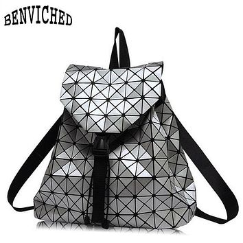 Diamond Lattice Backpacks Folding Portable Fashion Women Daily Bags Backpack New 2017 Geometric Joint Rucksack Girls School Bag