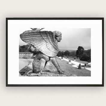 Black and White Photograph of Sphinx Statue, Art Photography, Wall Art.