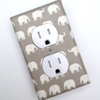 Gray Elephant Nursery Decor Outlet Plate Cover / Unisex Gender Nuetral / Kids Room / Single / Tiny Tip Top