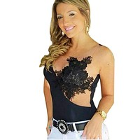 2017 Spring Women Bodysuits Embroidered Flower Sexy  Club Jumpsuits Black Lace Backless Bodycon Transparent Sleeveless Bodysuit