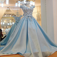 LS64111 Long prom dress satin elegant sweetheart floor length evening party dresses 2016 long with flowers blue 100% real photo