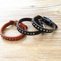 Adjustable size of the bracelet, hand ring, metal rivet leather leather bracelet, men leather bracelet, ms gifts of choice SL44