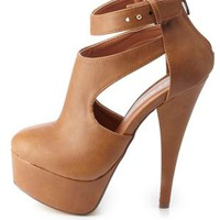 Cut-Out Platform High Heels by Charlotte Russe - Tan