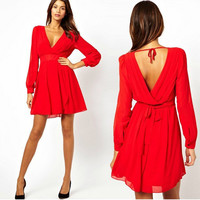 Chiffon Sexy Deep V Female Women's Fashion New Arrival Shaped Long Sleeve One Piece Dress = 5826529537