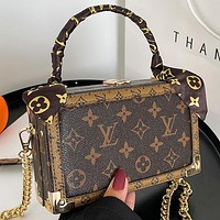 LV Louis Vuitton stitching color printing letters ladies shopping handbag chain messenger bag shoulder bag with silk scarf