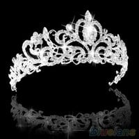 Wedding Bridal Princess Austrian Crystal Prom Hair Tiara Crown Veil Headband Silver