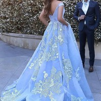 Off Shoulder Applique Tulle Ball Gown Train Prom Dress