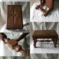Small French vintage wooden stool, rustic foot stool, carved wooden stool, French country home, cottage chic, French farm house