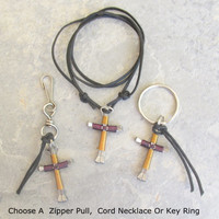 Purple N Gold Disciples Cross, Horseshoe Nails, Choose Your Style Key Chain, Pendant Necklace, Zipper Pull, Colored Craft Wire, Unisex