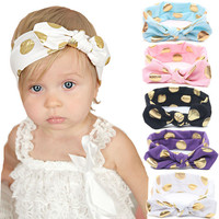 Gold Polka Dots Baby Cotton Headband Girls Knotted Bow Head Wrap