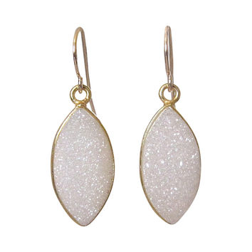 Cream Druzy Drop Earrings