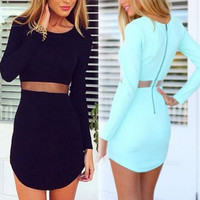New Sexy Women Casual Mini Summer Dress, Mesh Waist Short Sheath Sexy Dress
