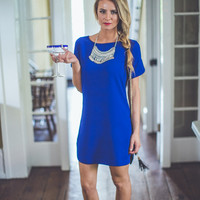 Simple Shift Dress in Royal