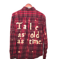 """Plaid Disney Shirt, """"Tale as old as time..."""" in Beauty and the Beast Flannel"""