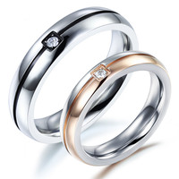 Lovers Wedding Ring Romantic Stainless Steel CZ