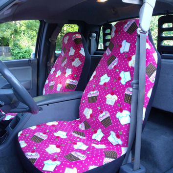 1 Set of Cupcake/Cherry Print Car Seat Covers and Steering Wheel cover Custom Made.