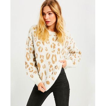 Textured Animal Print Pullover Sweater - More Colors