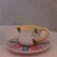"""Ceramic Tea Cup and Saucer similar to """"Chip"""" from Disney's """"Beauty and the Beast"""""""