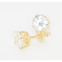 Sterling Silver Gold Plated 7mm Round Clear CZ BASKET Screw back Earrings