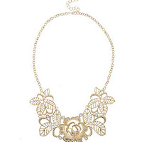 Gold Filigree Rose Necklace