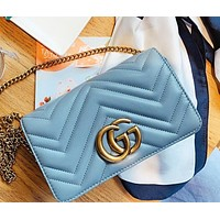 GUCCI New fashion leather shoulder bag crossbody bag Blue