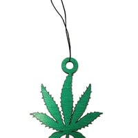 Pot Leaf Laser Engraved Green Painted Wooden Sillhouette Rear View Mirror Car Charm Dangler