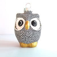 Black and White Owl Christmas Ornament: dotted Owl Ornament Hand Painted Glass Ornament Christmas Owl black and white christmas ornaments