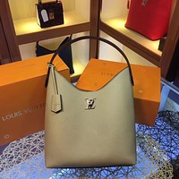 LV Louis Vuitton WOMEN'S Taurillon LEATHER LOCKME HANDBAG TOTE BAG