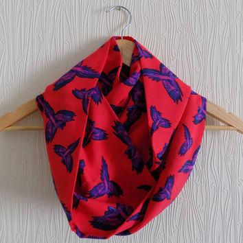 Bird Scarf Red Infinity Scarf Animal Print Scarf Spring Scarf Bird Print Scarf Christmas Gift Ideas For Her Women Fashion Accessories