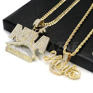14k Gold NBA Never Broke Again / Hustle Pendant W/Cuban and Rope Chain Set
