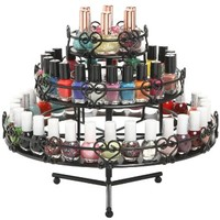 3-Tier Wedding Cake Heart Design Rotating Metal Nail Polish Display Stand Organizer Rack, Black - MyGift