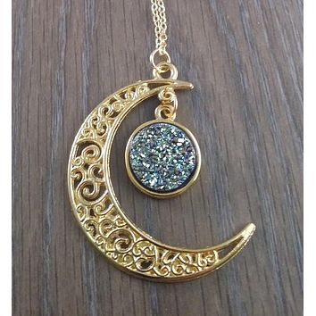 Gold tone Moon hanging purple teal druzy necklace
