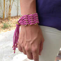 Golden Rings And Suede Bracelet Adjustable in 10 Colors