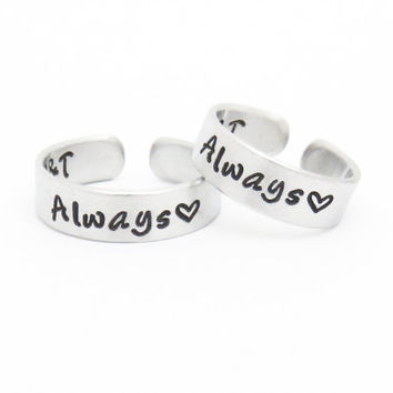 Customized couple rings - Always promise rings - Personalized initials rings heart rings -  Boyfriend girlfriend rings