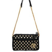 Rhinestone Studded Bling Messenger Satchel Bag Cross Body Chain Purse Black