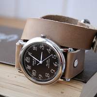 Handmade beige milky leather bracelet wrap around wrist with silver black watch face - Free Shipping
