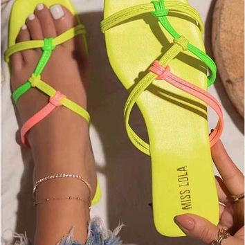 Summer new women's square toe large size flat sandals