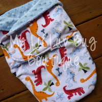 Minky swaddle blanket- White with baby blue and dinosaurs- baby minky swaddle wrap READY TO SHIP