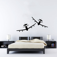 Wall Decal Vinyl Sticker Decals Art Home Decor Mural Military Aircrafts Plane Air Airplane Fighter Jet Copter Helicopter Aviation AN263